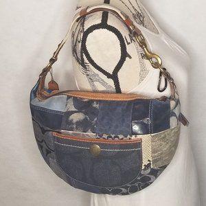 Coach Patchwork Multi-blue Leather/Denim Hobo Bag